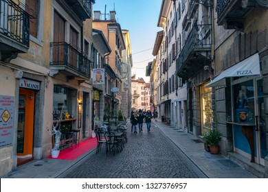 Udine/Italy - 12.21.2018: The view on the street of amazing town Udine, Italy