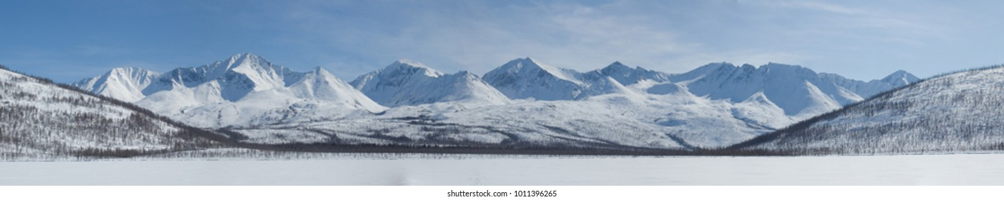 Udokan Mining section in winter. Russia. Panorama.