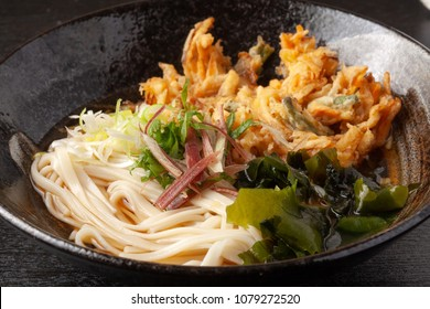 Udon Noodle with Mixed Vegetable and Seafood Tempura