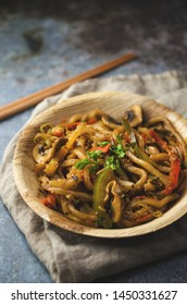 Udon noodle with vegetables, Asian food