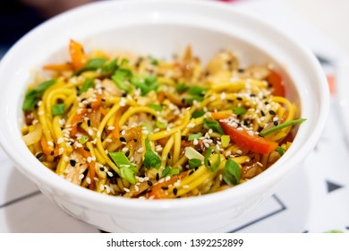 Udon noodles with meat and vegetables