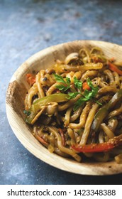 Udon pasta with vegetables, Asian style
