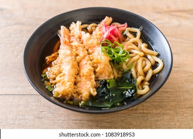 udon ramen noodles with shrimps tempura - Japanese food style