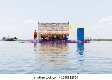 Udon Thani, Thailand - 18 April 2018: Float Raft Downstream at Nam Phan Reservoir, Sang khom District, Udon Thani, Thailand.
