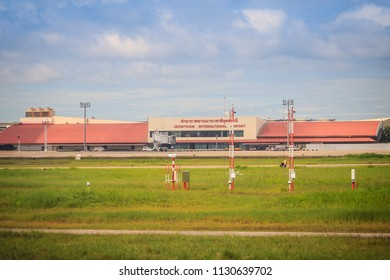 Udon Thani, Thailand - August 9, 2017: Terminal building on grass field of Udon Thani International Airport (UTH), located near the city of Udon Thani Province in the northeast region of Thailand.