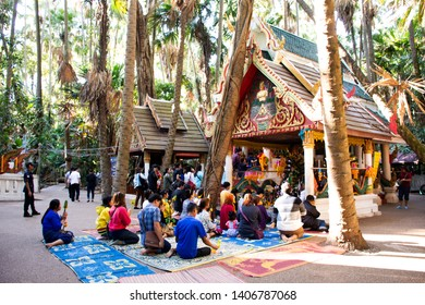 UDON THANI, THAILAND - DECEMBER 19 : Thai people and foreign travelers travel visit and respect praying holy thing in Wat Pa Kham Chanod at Ban Kham Chanot on December 19, 2018 in Udon Thani, Thailand