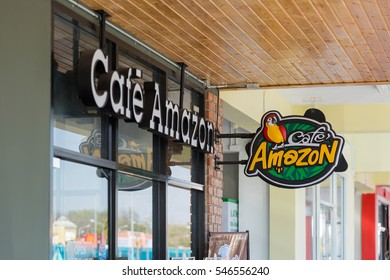 Udon Thani, Thailand - December 21, 2016: Cafe Amazon logo sign. Thai frachise coffee in Thailand