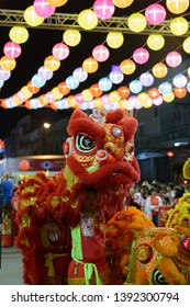 Udon Thani, Thailand - February 5, 2019: Lion dance in the opening ceremony of Chinese New Year in Udon Thani City.