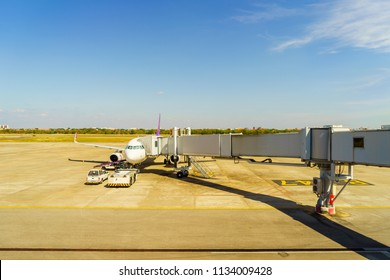 Udon Thani, Thailand - January 2, 2018: Airplane ready to take off at Udon Thani International Airport in Thailand. Udon Thani Province is one of the four major cities of the Isan region.