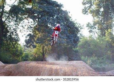 UDONTHANI THAILAND - December 12 ,2015. Round of the Udonthani District Motocross. competitor motocross track
