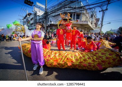 UDONTHANI, THAILAND - DECEMBER 2018 : Winter parade In annual festival of the udonthani. Udonthani Shrine Year celebrations on December 5, 2018 in Udonthani, Thailand