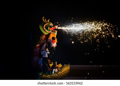 UDONTHANI THAILAND, DragonJanuary 2017 :Dragon dance show with firework in the festival of 2017 Chinese New Year in the night at San Jao Pu Ya Udonthani ,Thailand