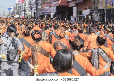 Udonthani, Thailand - January 18, 2017 : The spirits dance ceremony, Luang prachaksinlapakhom A son of King Rama v author of Udon Thani is current year 124rd.