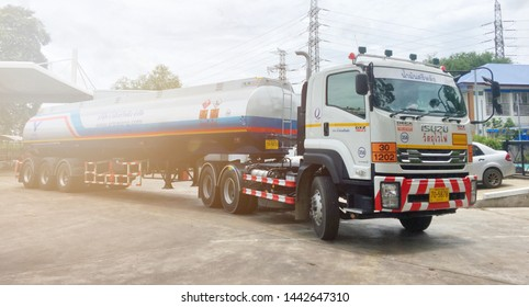 UDONTHANI, THAILAND - JULY '1 2019: Oil transportation vehicles tank Trailer Truck .