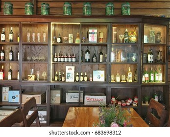 UDONTHANI, THAILAND. March 16, 2016: Wine collection in the old wood showcase in the Strip Vintage Restaurant.