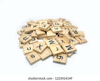Udonthani, Thailand - November 7 2018:  A pile of wooden Scrabble tiles