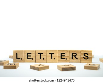 "Udonthani, Thailand - November 7 2018: Scrabble tiles spelling ""Letters"" on white background"