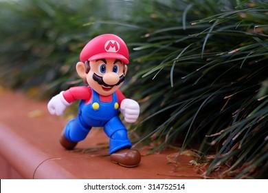 UDONTHANI, THAILAND - September 09 2015: Super Mario Bros figure in park of Udonthani. ( SEPTEMBER 09, 2015 in Udonthani, Thailand )