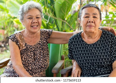Udonthani / Thailand-9-5-2018: Asian old age brethren live together happily.