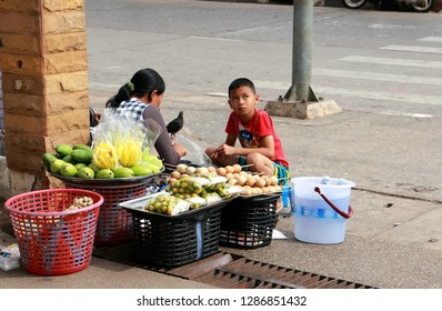 Udorn Thani Province Thailand , January 05 - 2019 : small food and fruit shop on street in Thailand.
