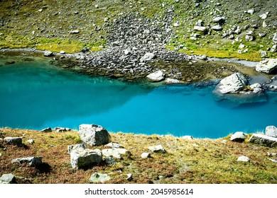 Udziro lake, Racha, country Georgia. Bautiful nature in Georgia, Colorful autumn and Udziro lake (bottomless lake) trekking trail
