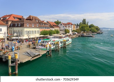 UEBERLINGEN, GERMANY - AUGUST 26, 2017: Bodensee Promenade in Ueberlingen at the Lake Constance during the Toepfermarket