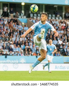 UEFA Europa Leauge Second qualifiers round 1st Aug 2019, Malmö New Stadium, Malmö, Sweden. result 3-2 (aggregate. 5-4). Rosenberg goes for a high ball