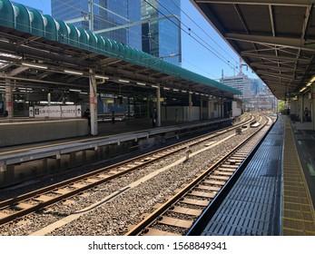 UENO, TOKYO, JAPAN - OCTOBER 13 ,2019: Yamanote Line Railway at Ueno Station