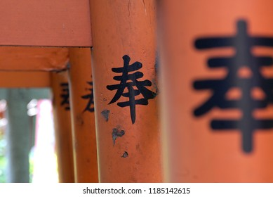 UENO, TOYKO - AUGUST 08, 2008: Close up to a pillar of a gate in Ueno park in Toyko, Japan