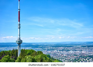 """Uetliberg TV-tower"" (186.7 metre high, built in 1990) and cityscape of Zurich, Switzerland"