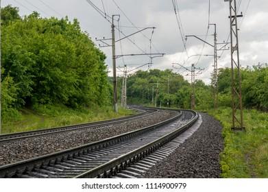 Ufa, Russia - 06-11-2018: Russian Railways - railway track