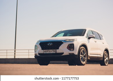 UFA, RUSSIA - 1 AUGUST 2018: Hyundai Santa Fe 2018 new suv car