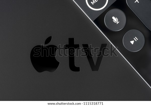 UFA, RUSSIA - 16 JUNE, 2018: Apple announced the 5th generation Apple TV, named Apple TV 4K, which supports 2160p output, HDR10, Dolby Vision, and includes a faster Apple A10X Fusion processor