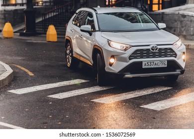 Ufa, Russia, 18 October, 2019 New Toyota RAV 4 Hybrid. Modern SUV transport vehicle