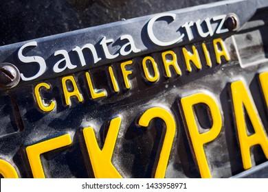Ufa, Russia, 22 June 2019: License plate with an inscription Santa Cruz California. Copy space, selective focus
