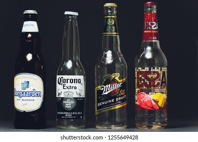 Ufa, Russia, 22 November, 2018: close-up empty bottles isolated on black.
