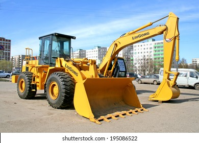 UFA, RUSSIA - APRIL 14, 2008: Yellow LiuGong 856 front end loader at the city street.