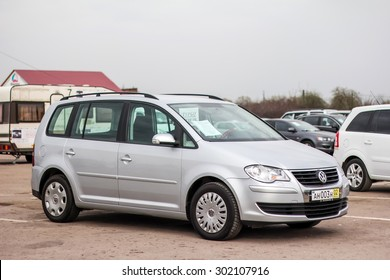 UFA, RUSSIA - APRIL 19, 2012: Motor car Volkswagen Touran at the used cars trade center.