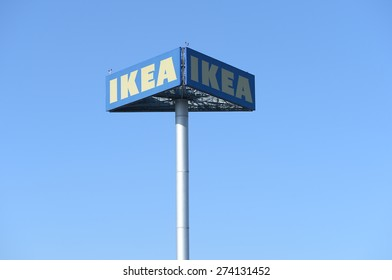 UFA, RUSSIA - APRIL 21: IKEA sign board against sky at IKEA Raisio Store on April 21, 2015 in UFA, RUSSIA. As of January 2008, IKEA is the world's largest furniture retailer.