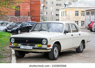 Ufa, Russia - April 24, 2012: Motor car GAZ 2410 Volga in the city street.