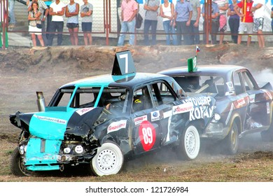 UFA, RUSSIA - AUGUST 1: Unidentified competitor's GAZ-3110 Volga No. 7 takes part at the Arena 89 Demolition Derby on August 1, 2012 in Ufa, Russia.