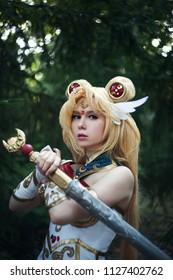 Ufa, Russia August 20, 2016: Young girl cosplay anime sailor character moon