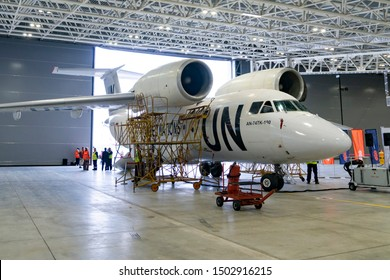 Ufa, Russia - August 26 2019: aircraft in hangar for repair