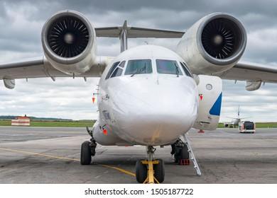 Ufa, Russia - August 26 2019; AN-74 om runway in airport Ufa