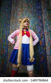Ufa, Russia - August 27, 2019: Young cute girl cosplay anime sailor moon character