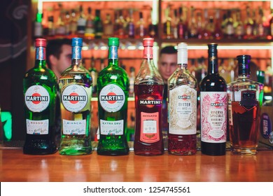 Ufa, Russia, Darling Bar, 20 November, 2018: Martini Vermouth, Bianco. Martini is a brand of Italian vermouth, named after the Martini Rossi Distilleria Nazionale di Spirito di Vino.