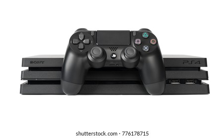 UFA, RUSSIA - DECEMBER 15, 2017: PlayStation 4 Pro was announced on September 7, 2016. It is an upgraded version of the PlayStation 4 with improved hardware to enable 4K rendering.