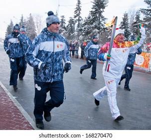 Ufa, Russia - December 20, 2013: Olympic flame.