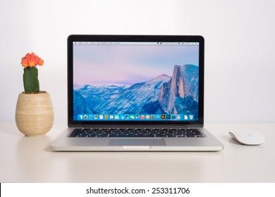 UFA, RUSSIA - FBBRUARY 2, 2015: Photo of a MacBook Pro. MacBook Pro Retina is a laptop developed by Apple Inc.