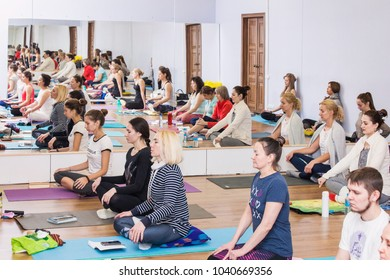 Ufa, Russia. february 20, 2018: Young women in yoga class making pose. Healthy lifestyle in fitness club